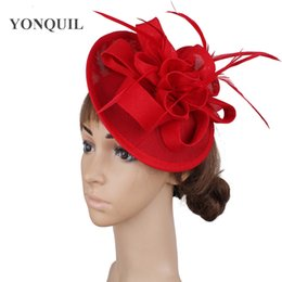 elegant purple hat Canada - Imitation red wedding headwear hair pin fascinators hat elegant women ladies headpiece fashion party race fedora