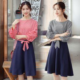Bow Briefs online shopping - Korean New Loose Bow Trajes De Mujer De Verano Brief Elegant Vintage Set Fashion Chic Plaid Twinset