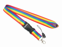 Wholesale lanyards id holders resale online - 10pcs Rainbow Mobile Phone Straps Neck Lanyards for keys ID Card Mobile Phone USB holder Hang Rope webbing