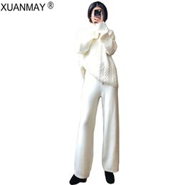 korean sweater pants Australia - Autumn women's Thick Sweater and Pants up and down Two-piece Korean version White High-neck Sweater Wide leg Pants Two-piece