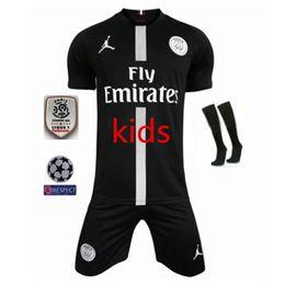 5e9f3748d 18 19 PSG Kids champions league Game black white soccer jerseys 2019 Thail  Quanlity Paris Mbappé NEYMAR JR saint germain boys football shirt