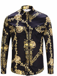 Long Mens Chain Australia - Fashion Designer Golden Chain Print Vintage Mens Shirts Designer Lapel Neck Long Sleeve Luxury Tops Men Casual Tees