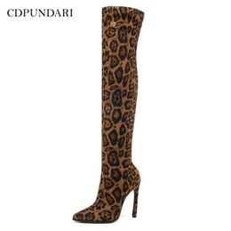 $enCountryForm.capitalKeyWord Australia - CDPUNDARI Stretch Fabric High heels over the knee boots women thigh high boots Ladies Winter shoes woman