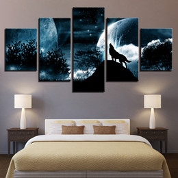 framed wolf wall decor Australia - Living Room Modular Pictures HD Printed Canvas 5 Panel Full Moon Night Forest Wolf Framed Wall Art Painting Poster Home Decor