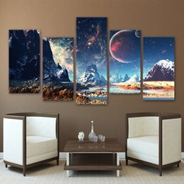 $enCountryForm.capitalKeyWord Australia - Home Decor Canvas HD Prints Wall Art Pictures 5 Pieces Mountains And Space Painting Set Planet Snow Lake Galaxy Poster Framework