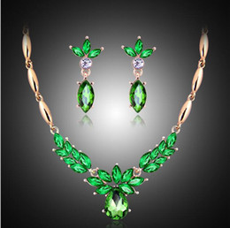 $enCountryForm.capitalKeyWord Australia - Green Blue Brown Stones Necklaces Women Fashion Earring Necklace Set Lady 18K Gold Exquisite Party Jewelry Sets