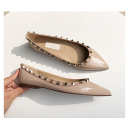 db27ab84aa 2019 Rivet Flat Bottom Designer Ladies Single Shoes Eagle Mouth Pointed  Shallow Mouth Flat with Ballet Patent Leather Rivet Designer Shoes