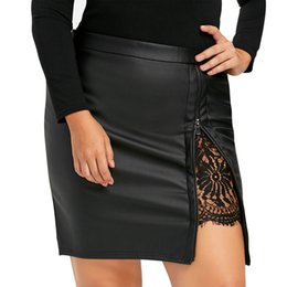 short faux leather skirt 2019 - Fashion 2019 Women Girls Sexy Leather Solid Color Skirts Lace Uniform Pleated Club Party Bodycon Short Pencil Mini Skirt