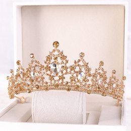 Gold White Blue Sparkly Crystals Girls Tiaras Crowns For Wedding Birthday Formal Occasion Rhinestones Beading Kids Hair Accessories AL2198 on Sale