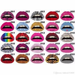 Wholesale Glitter Lips Australia - New 3D Art lips sticker Glitter Pink sexy pattern makeup tattoo lip stickers Makeup Tools Wholesale