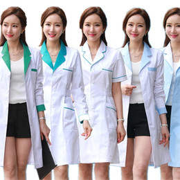 $enCountryForm.capitalKeyWord NZ - 10color Medical Nurse Uniform Lab White Coat Pharmacy Beauty Hospital Clinic Work Wear Uniforms For Women Medical Clothes