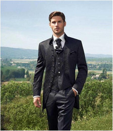 Traditional Suits Australia - (Jacket + Pants + tie) men business suits trousers Chinese tunic suit black new arrival Large Size Traditional Mandarin