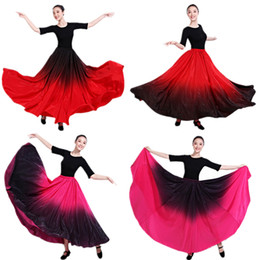 828776aa2457 Plus Size Ballroom Dress Australia - Dance Costume Spanish Gradient Elegant  Flamenco Skirt Dress for Women