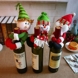 Tables dinning online shopping - Christmas Wine Bottle Cover Lovely Hug Christmas Elves Snowman Santa Claus Dinning Table Decorative Ornament