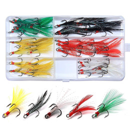 Feather Fishing Lures Australia - 50Pcs Box Fishing Feather Treble Hooks 6# Black Dressed Replacement Teaser Feather PIKE BASS Fishing Lure Hook Boxes