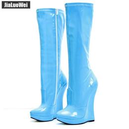$enCountryForm.capitalKeyWord NZ - 2019 NEW High Heels Wedges 3cm Platform Pointed Toe Shoes Women Knee-High Boots PU Leather Side Zipper Fetish Men Botas White 18cm