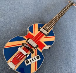 hofner violin guitar NZ - McCartney Hofner H500 1-CT Contemporary Violin Deluxe Bass England Flag Electric Guitar Flame Maple Back & Side, 2 511B Staple Pickups