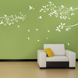 window stickers for birds Australia - Fashion White Tree Branches Birds Leaves Home Wall Stickers Living Room Decals Background Garden Window Decor