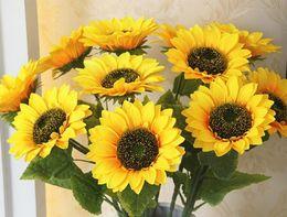 $enCountryForm.capitalKeyWord Australia - Artificial Flowers Yellow Silk Sunflower with 16cm head Wedding decorative flower Bouquet home decoration garden decor 68cm Length YW944