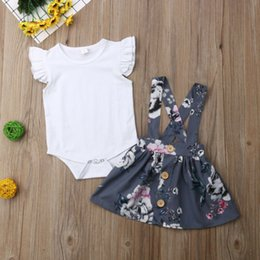 cartoon tutus Australia - Boutique girl clothes Infant Baby Girl Ruffle Top Romper Floral Tutu Skirt 2pcs Clothes Outfit Set