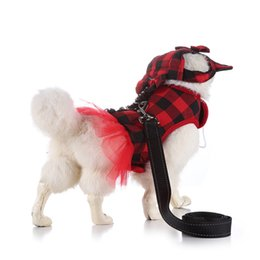 $enCountryForm.capitalKeyWord Australia - Plaid Dog Princess Tutu Dress Skirt Dog Clothes small Pet Cat Harness Dress and Leash Collar Leads With Hat