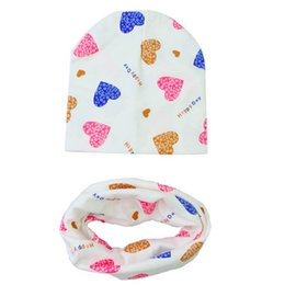 kids boy summer scarf Canada - 2Pcs Autumn Winter Baby Hat Scarf Set Cotton Beanie Love Heart Printed Cap Scarf Boys Girls Kids Neck Collar Scarves Photo Props