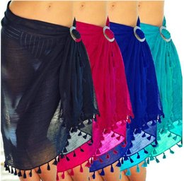 5colors Praia encobrimentos Tassel envoltório Saia Biquinis Swimsuit Feminino Swimwear Mulheres Sólidos Wear Pareo Summer Beach Sarongs GGA3372 em Promoção