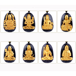 Lucky Gold Pendant Men Australia - High Quality Gold+ Natural Black Obsidian Carved Buddha Lucky Amulet Eight Patron saint Pendant For Women Men pendants fashion