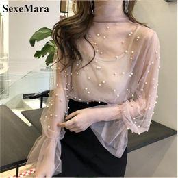 $enCountryForm.capitalKeyWord Australia - Sexemara Blouse 2019 Summer Spring Women Chiffon Shirt Gauze Bow Beading Female Blouses Tops Office Shirts Pink Black Y19050501