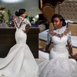Discount rhinestone applique lace mermaid wedding dresses South Africa Wedding Dresses High Neck Laced Mermaid Wedding 2018 Rhinestone Beaded Luxury Long Sleeves Bridal Gowns Lon