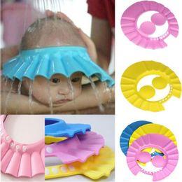 Großhandel Neugeborene Babys Jungen Badekappen Säuglingskleinkindsonnehut einstellbar wasserdichte Ohrschutz Kinder Dusche Hüte C1457