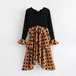 Wholesale Vintage Chic Spliced Polka Dot Cascading Ruffle Dress for Sweet Girls Knee Length Casual Women V Neck Flare Sleeve Dresses
