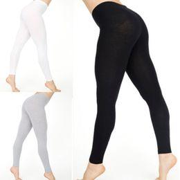 Wholesale cotton capris elastic waist for sale – dress Hot Women Elastic High Waist Cotton Leggings Female White Black Solid Color Skinny Stretchy Fitness Leggings Pants
