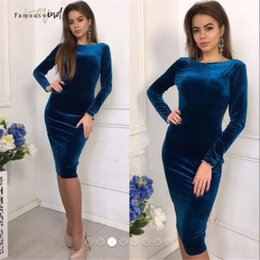 sexy velvet clothing Australia - Women Bandage Dress Casual Long Sleeve O Neck Evening Party Midi Bodycon Sexy Velvet Drop Shipping Designer Clothes