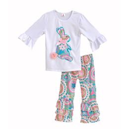 Baby Shirts Animal Patterns UK - Girls Easter Bunny Pattern Outfits Baby Paisley Knit Cloth Set Kids Animal Print Shirts & Ruffle Bell Pants Leggings Y190518