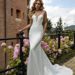 Mingli Tengda 2018 Sexy Illusion Mesh Backless Mermaid Wedding Dresses Lace  Appliques Sleeveless Court Train Bridal Dress 068eb488dfcc