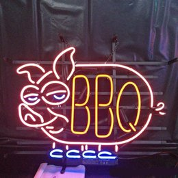 "neon bbq sign 2020 - 17""x14"" BBQ PIG PORK Barbecue BEER BAR PUB PARTY WALL DECOR LAMP ADVERTISING NEON LIGHT SIGN"