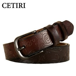 women belts vintage Australia - CETIRI New Fashion Wide Genuine Leather Belt Woman Vintage Floral Print Cowskin Belts Women Top Quality Strap Female For Jeans