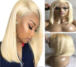 $enCountryForm.capitalKeyWord Australia - Celebrity Wigs Bob Cut Lace Frontal Wigs Silky Straight #613 Blonde Color 10A Grade European Virgin Human Hair Full Lace Wigs Free Shipping