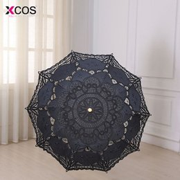 $enCountryForm.capitalKeyWord NZ - 2018 Fashion Parasol Bridal Wedding Handmade Embroidered Cotton Black Lace Edge Sun Umbrella Bridal Party Decoration