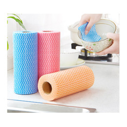 Kitchen Supplies Non-woven Cloth Disposable Dish towel Kitchen Non-woven Non-stick Oil Rag Dish Washing Cloth XD23348 on Sale