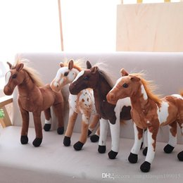 model horses NZ - Simulation Model Black Horse Stuffed Plush Toy Good Quality New Present Gift Brown Horse Doll Horse Plush Toy
