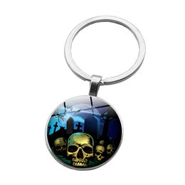 acrylic skull pendant wholesale Canada - 2019 Europe and the new cross-border new accessories Halloween skull time gemstone keychain Car metal pendant creative gift time gemstone ke