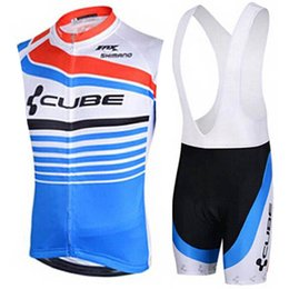 Cube bike CyCling jerseys online shopping - 2019 mtb Bike Team CUBE Men Breathable Cycling Jersey Sleeveless Bike Clothing Summer Racing bicycle jersey bib shorts set