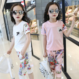 Trends Clothing Australia - The New Trend of Fashion Clothes Girls Summer Kids Children Sets Floral Suit Tee + Seven Pants Suit Free Shipping
