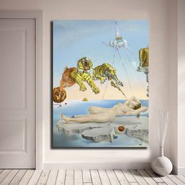$enCountryForm.capitalKeyWord Australia - Salvador Dali Tiger At The Party Surrealism HD Art Canvas Poster Painting Wall Picture Print Office Room Home Decoration Framework
