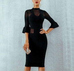 $enCountryForm.capitalKeyWord NZ - Free Shipping Fashion 2019 Style Women Black Bandage Dress Half Butterfly Sleeve Autumn Dresses Mesh Perspective Evening Club Party Dresses