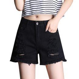 Hot Poles Australia - Destroyed Sexy High Waist Jeans Hot Shorts Women Black Denim Fashion Short Woman Summer Pole Dance Micro Ripped Shorts 66