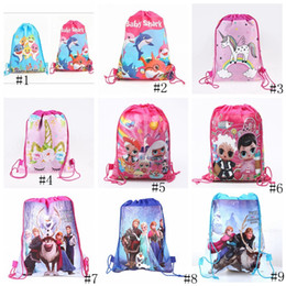 Clothes themes online shopping - Baby Shark Backpack Cartoon Drawstring Bags Kids Unicorn Avenger Theme Designer Non woven Fabric Bag Pouches Folded Storage Bags GGA2261