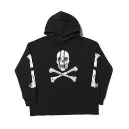 Discount thin long sleeve cotton - Vlone Hoodies Mens Designer Hip Hop Sweat Vlone Human Bone Print Sweatshirt Men Women Designer Sweat Black